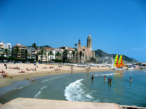 beach in Sitges, Spain